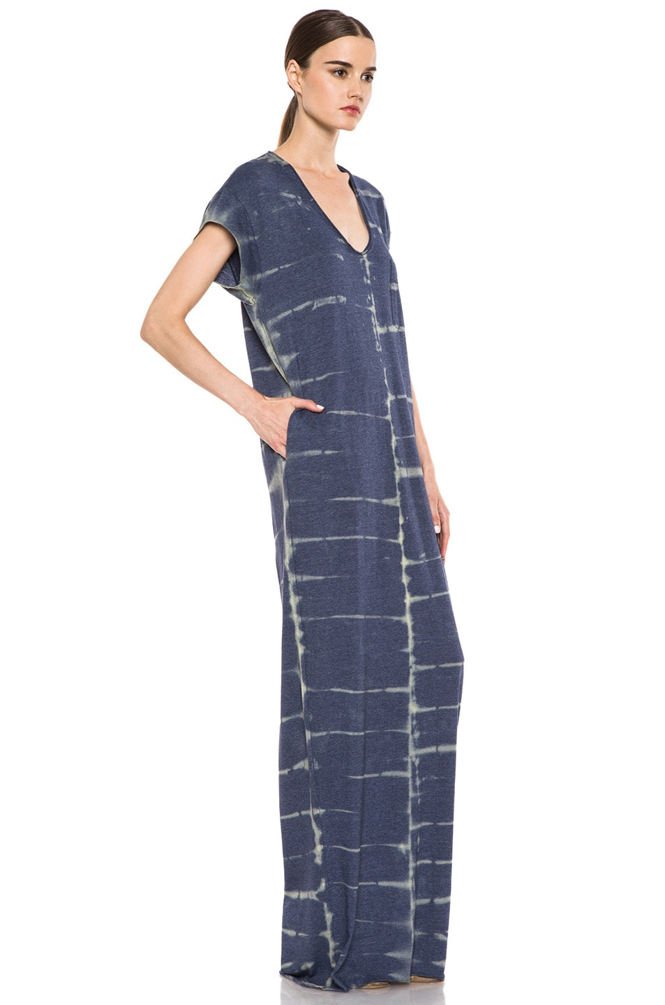 Image 3 of Raquel Allegra Deconstructed Jersey Caftan Dress in X-Ray Blue
