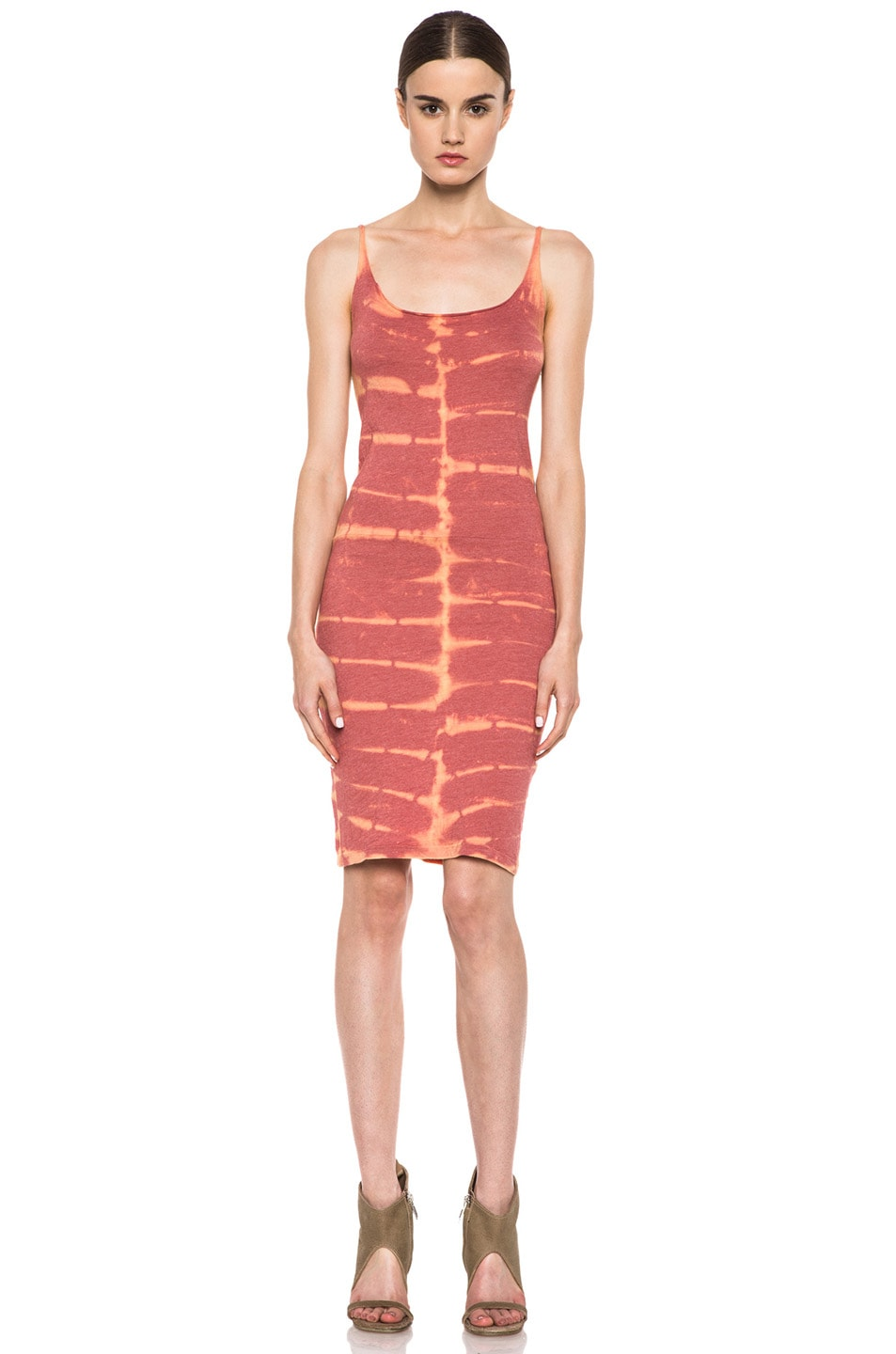 Image 1 of Raquel Allegra Short Layering Cotton-Blend Tank Dress in X-Ray Coral