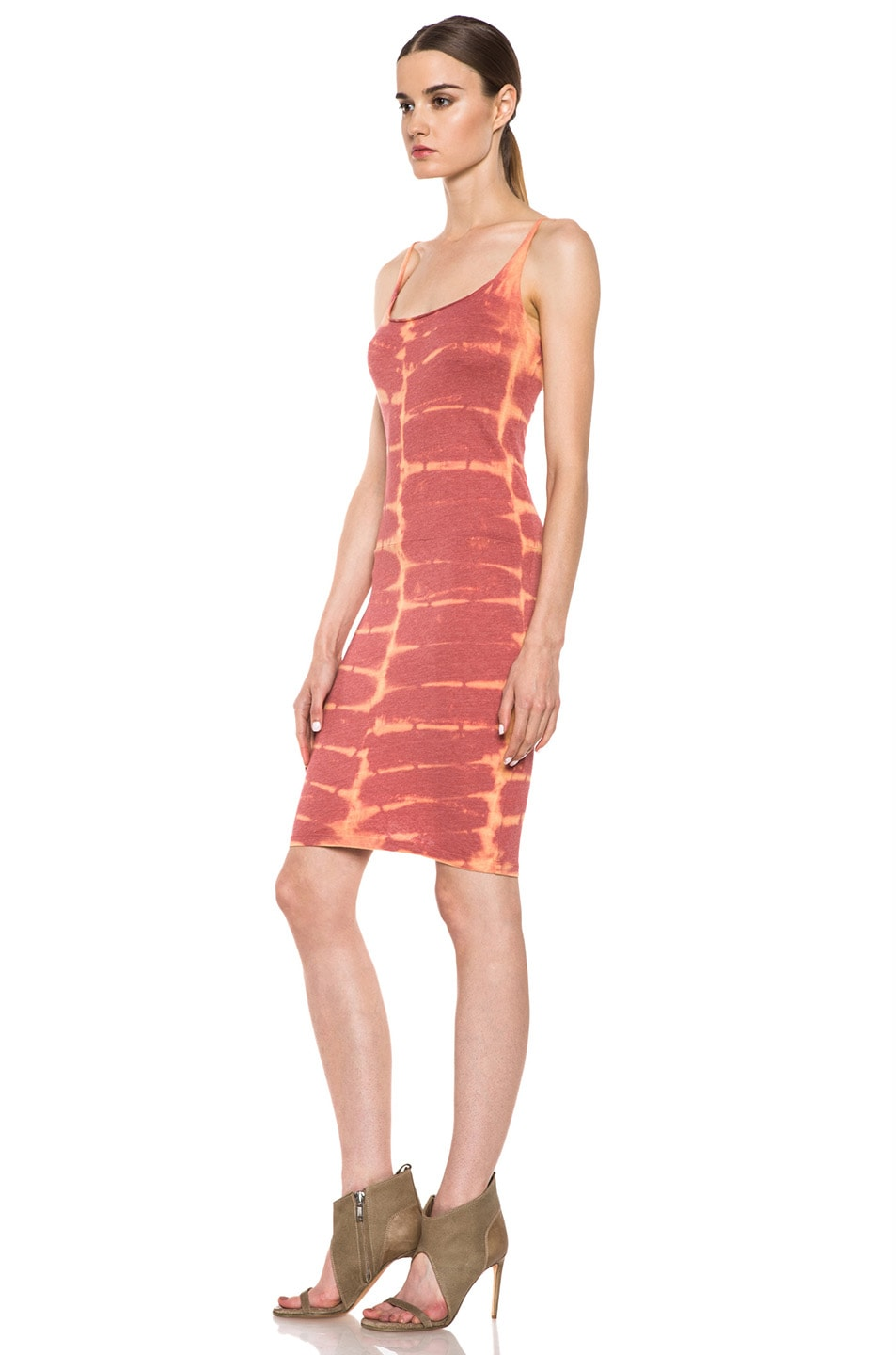 Image 2 of Raquel Allegra Short Layering Cotton-Blend Tank Dress in X-Ray Coral