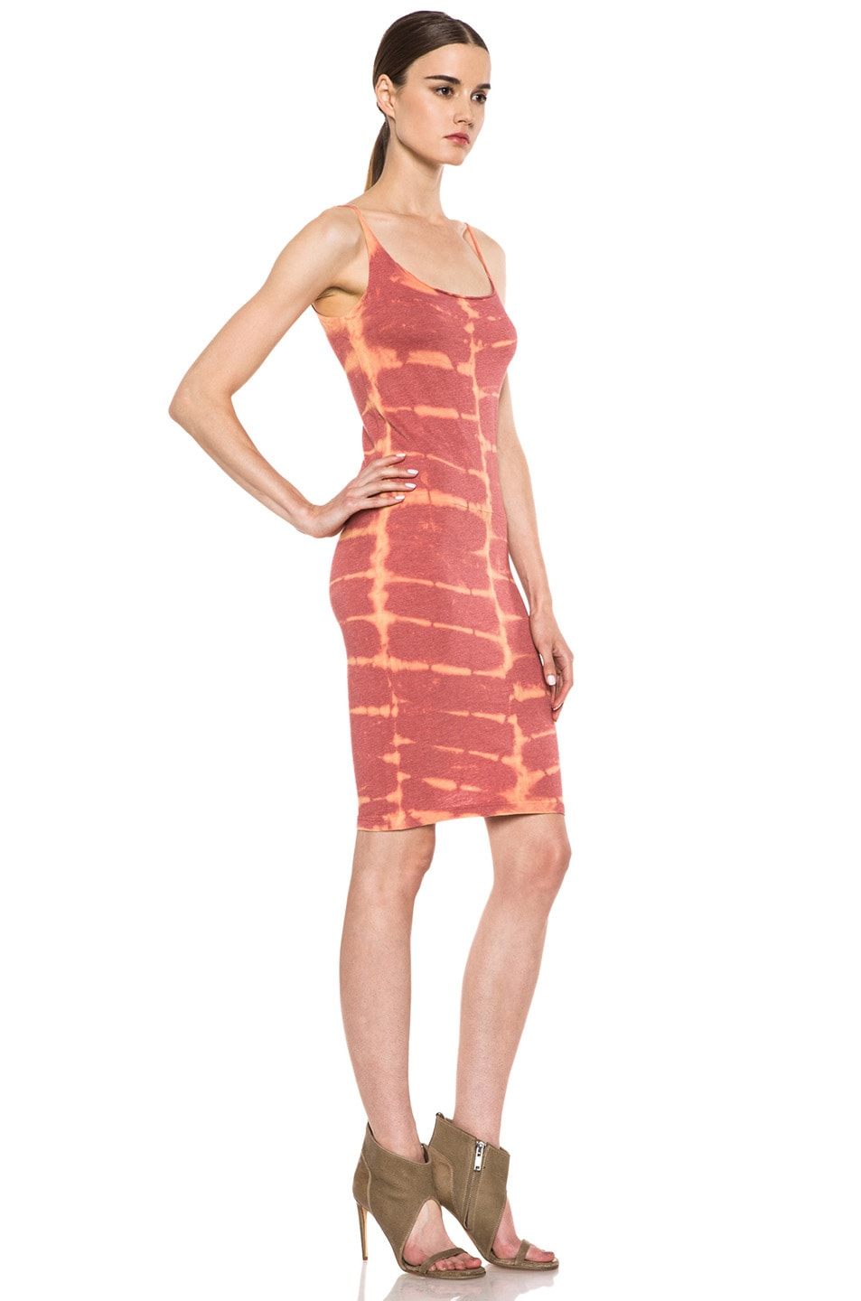 Image 3 of Raquel Allegra Short Layering Cotton-Blend Tank Dress in X-Ray Coral