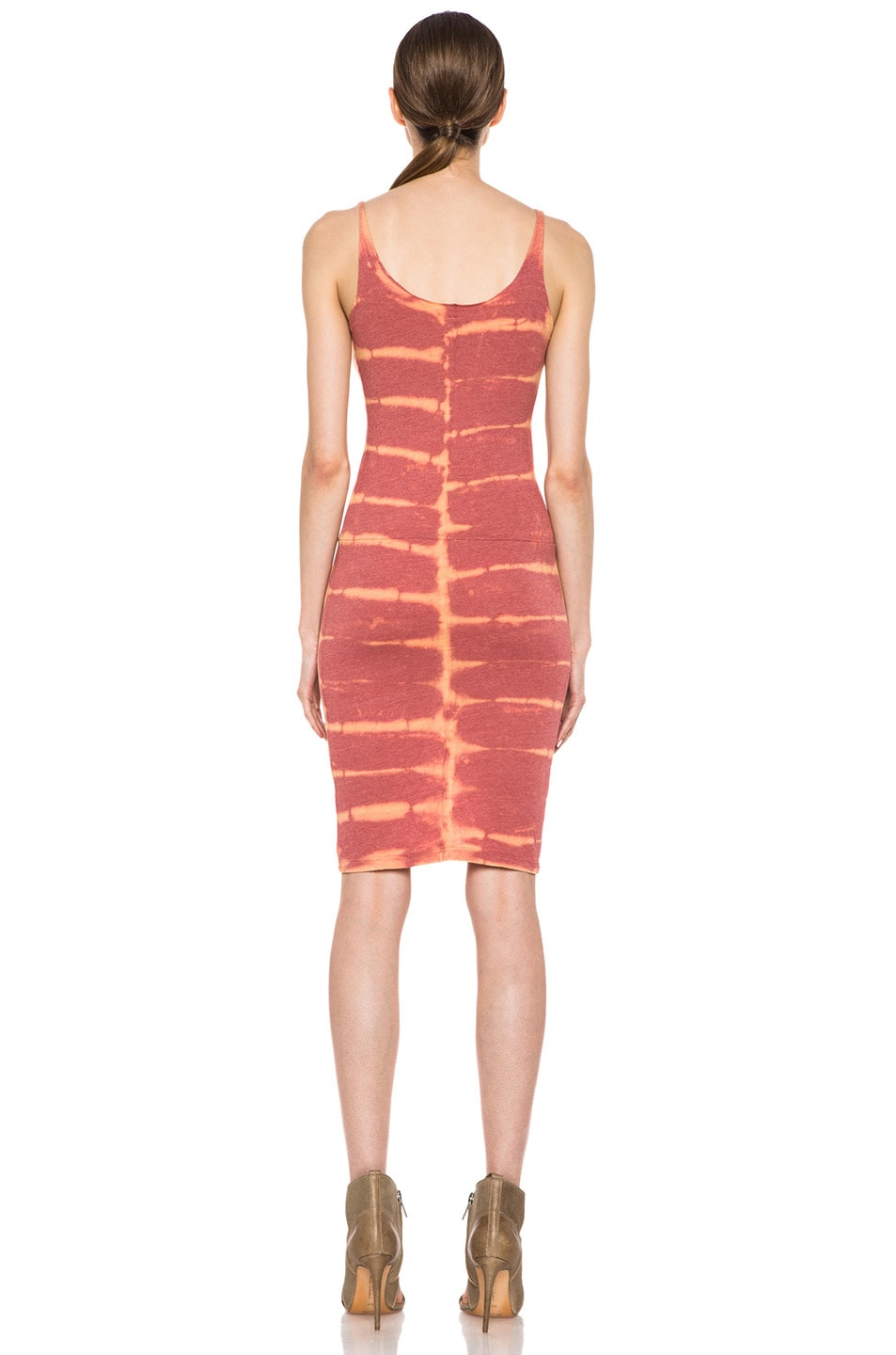 Image 4 of Raquel Allegra Short Layering Cotton-Blend Tank Dress in X-Ray Coral