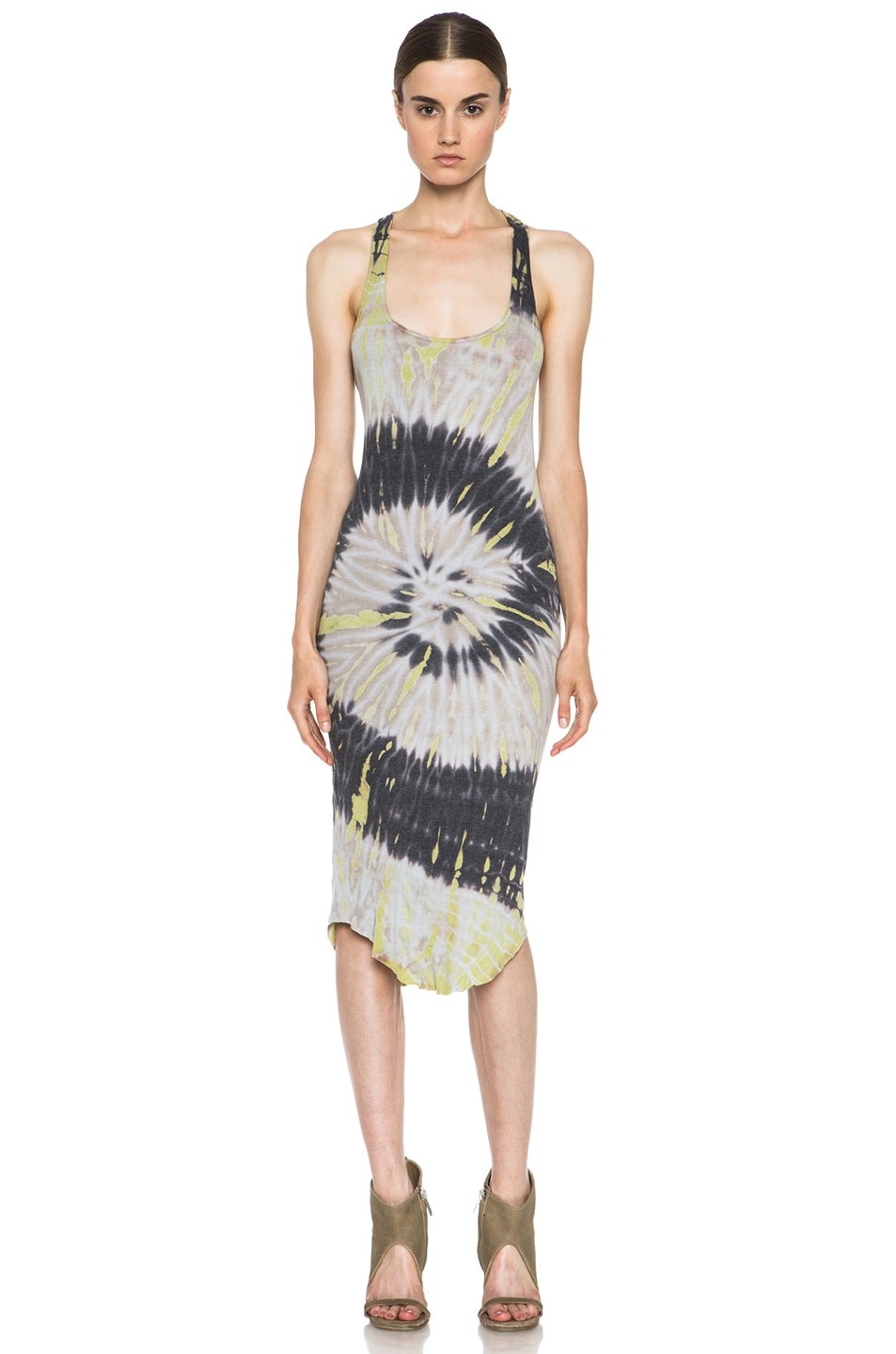 Image 1 of Raquel Allegra Tie Dye Deconstructed Cotton-Blend Rib Tank Dress in Shell