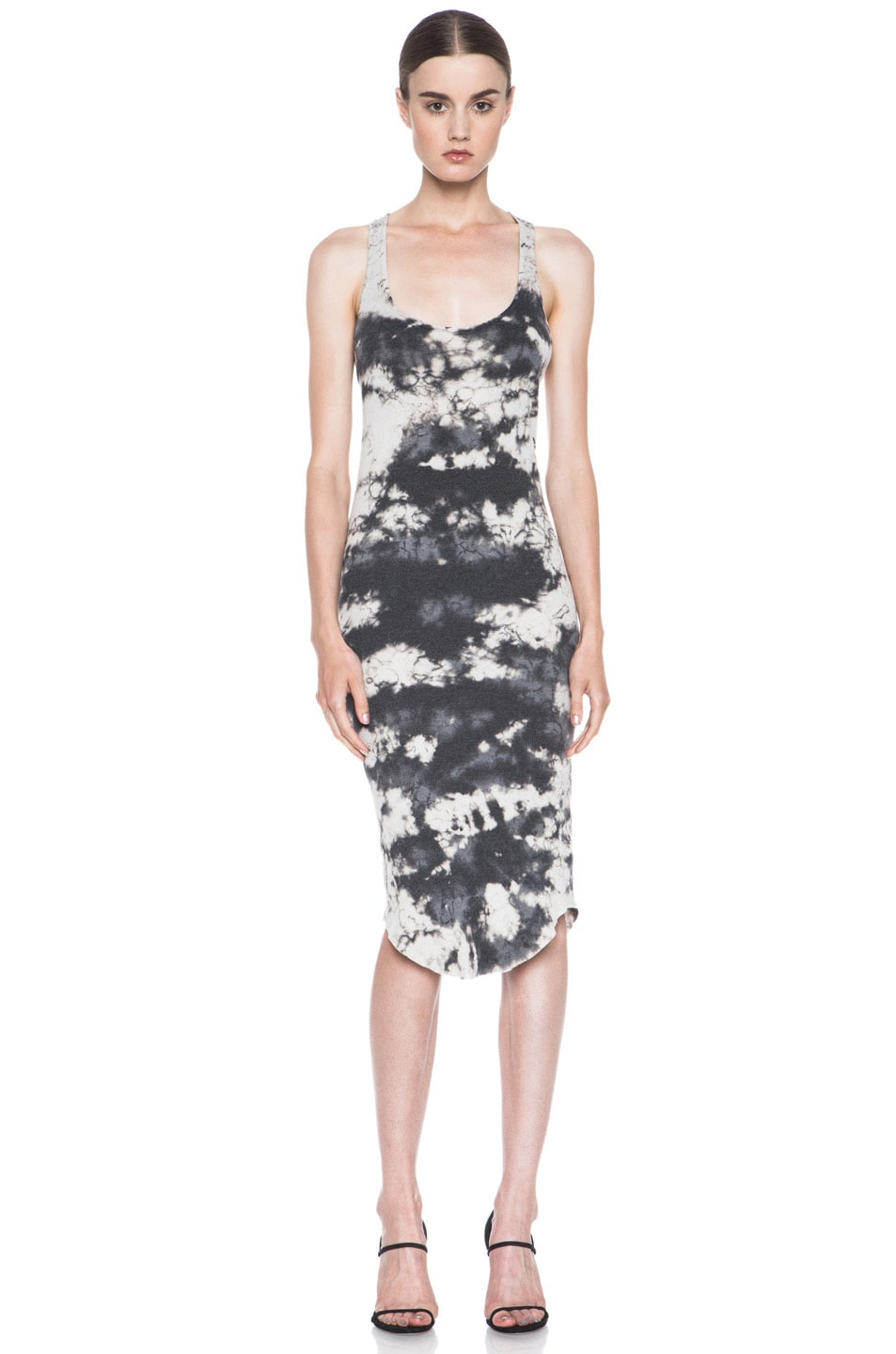 Image 1 of Raquel Allegra Deconstructed Jersey Rib Tank Dress in Marble Black