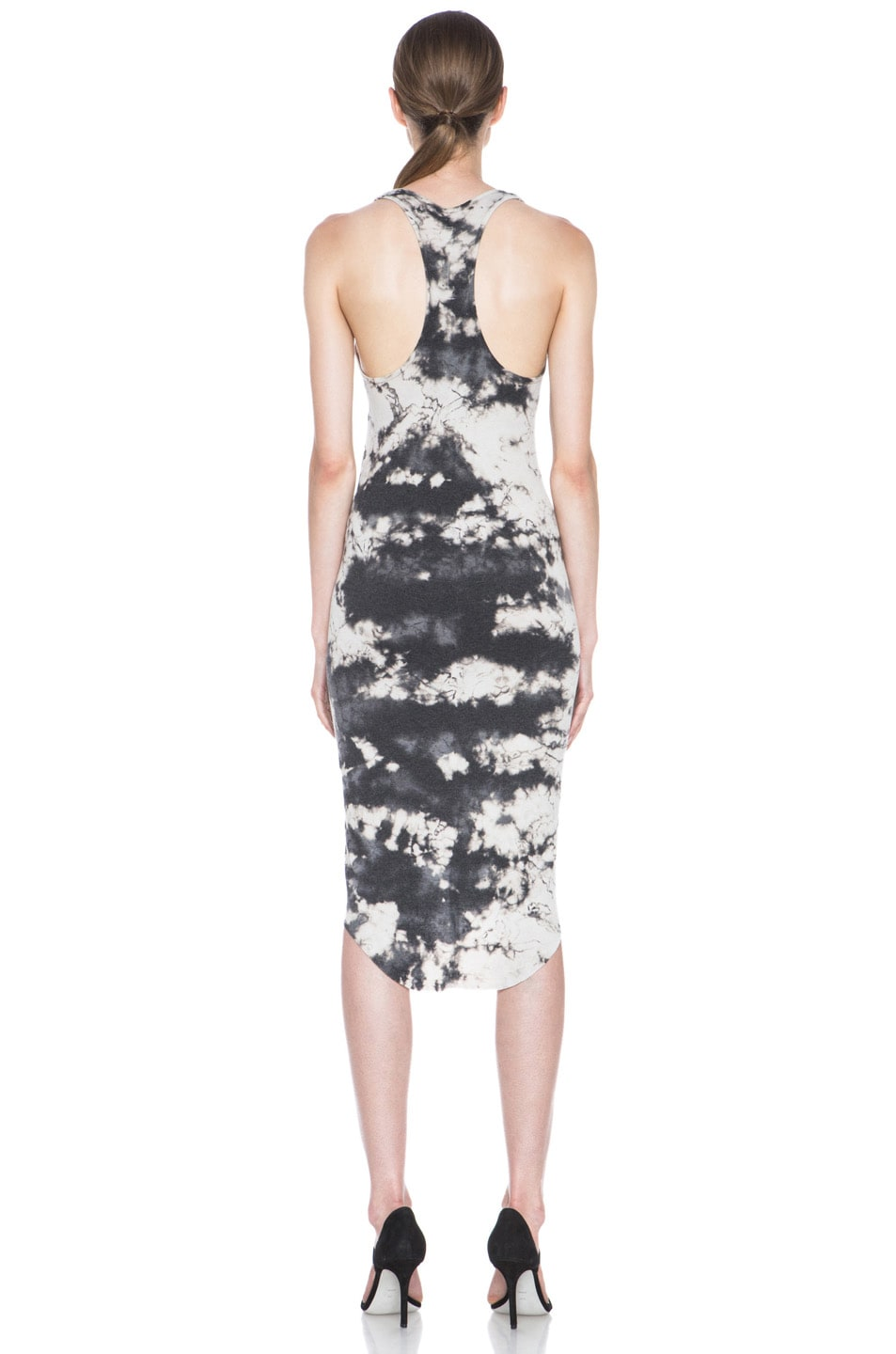 Image 4 of Raquel Allegra Deconstructed Jersey Rib Tank Dress in Marble Black