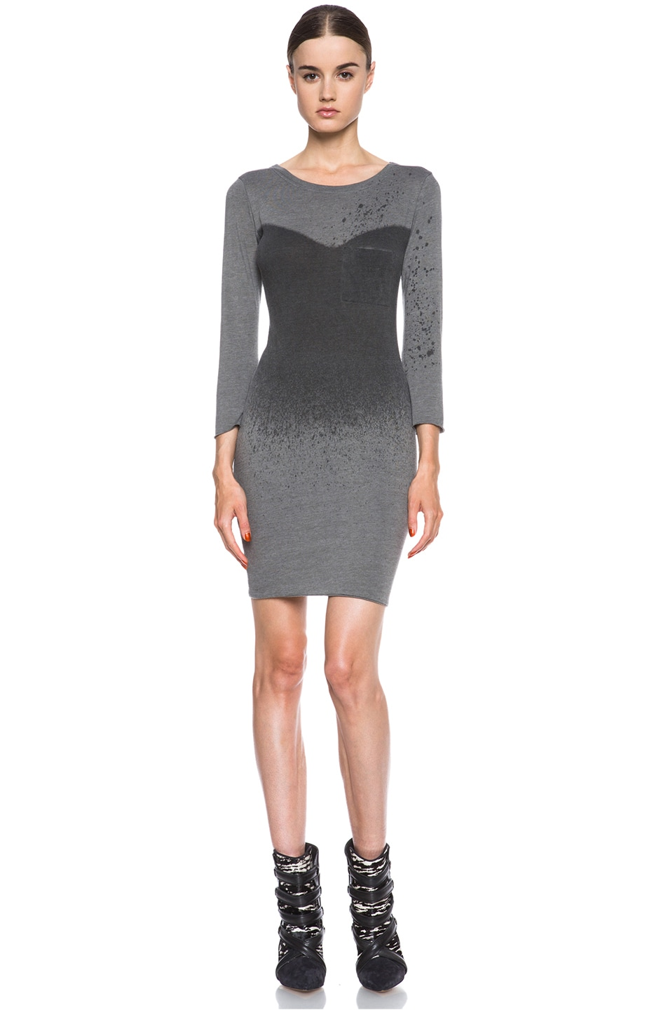 Image 1 of Raquel Allegra Deconstructed Jersey Dress in Stardust Ash Grey