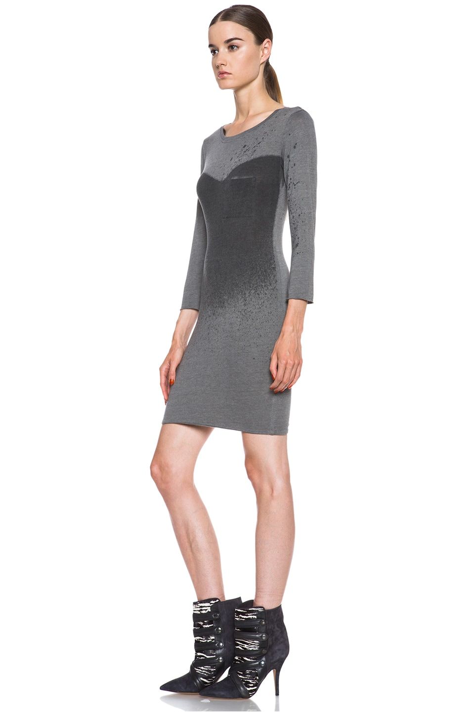 Image 2 of Raquel Allegra Deconstructed Jersey Dress in Stardust Ash Grey