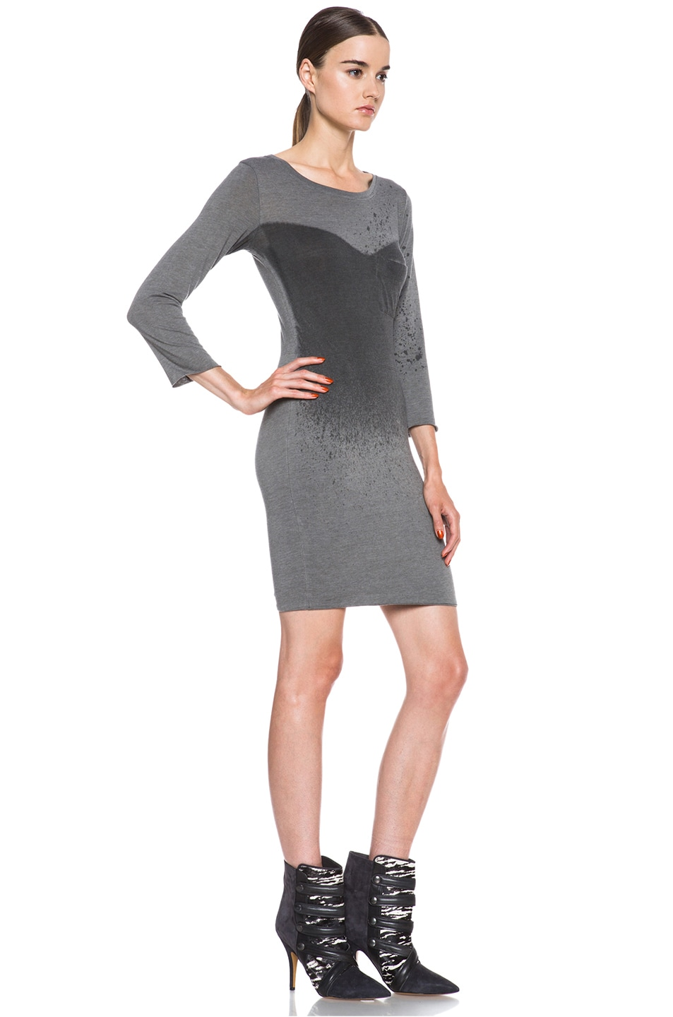 Image 3 of Raquel Allegra Deconstructed Jersey Dress in Stardust Ash Grey