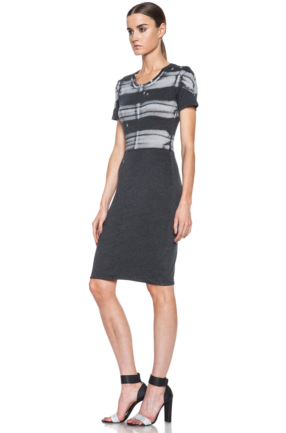 Image 2 of Raquel Allegra Cotton-Blend Cocktail Dress in Painter Stripe Black