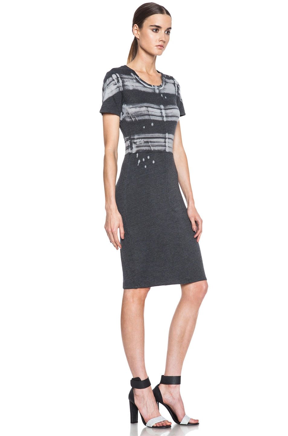 Image 3 of Raquel Allegra Cotton-Blend Cocktail Dress in Painter Stripe Black