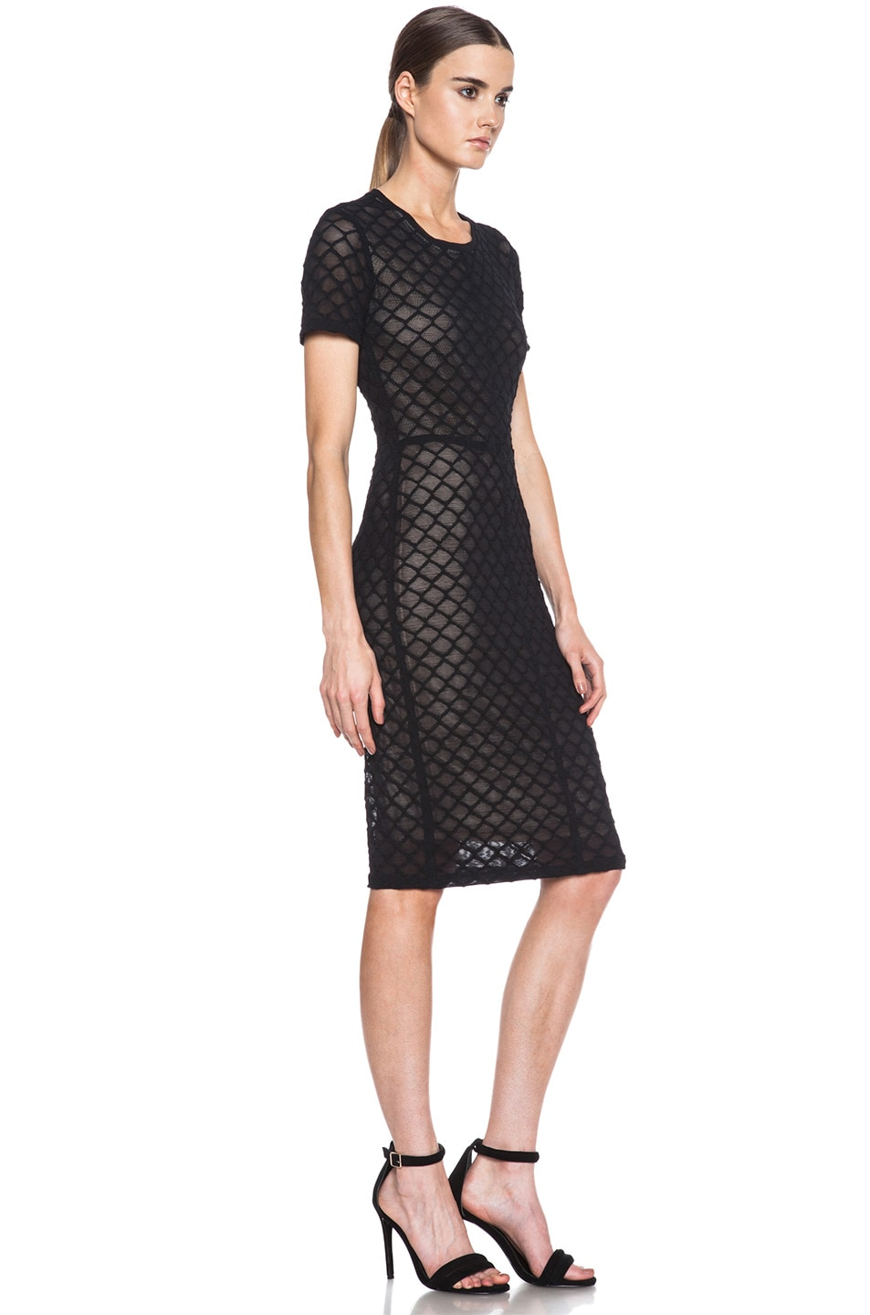 Image 3 of Raquel Allegra Knit Cocktail Dress in Black