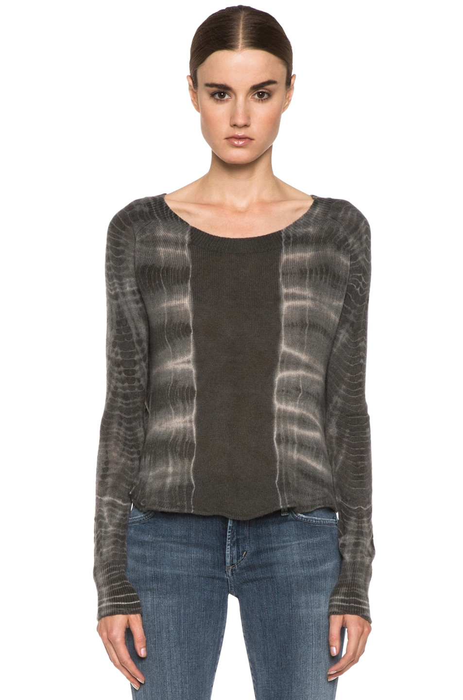 Image 1 of Raquel Allegra Cashmere Tie Dye Pullover in Ivory Bamboo