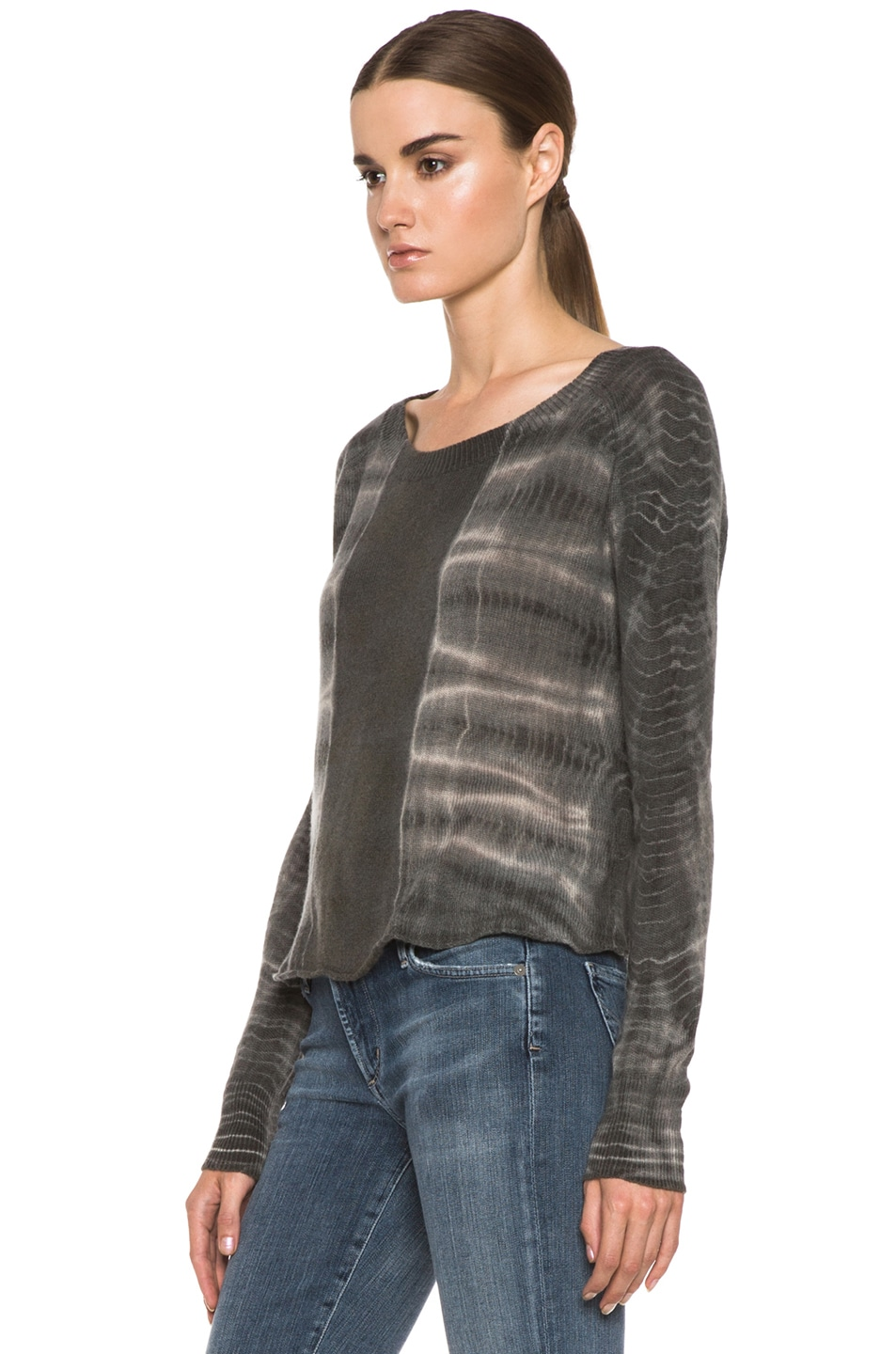 Image 2 of Raquel Allegra Cashmere Tie Dye Pullover in Ivory Bamboo