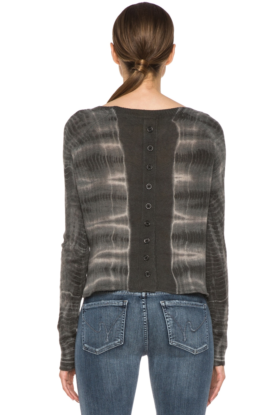 Image 4 of Raquel Allegra Cashmere Tie Dye Pullover in Ivory Bamboo