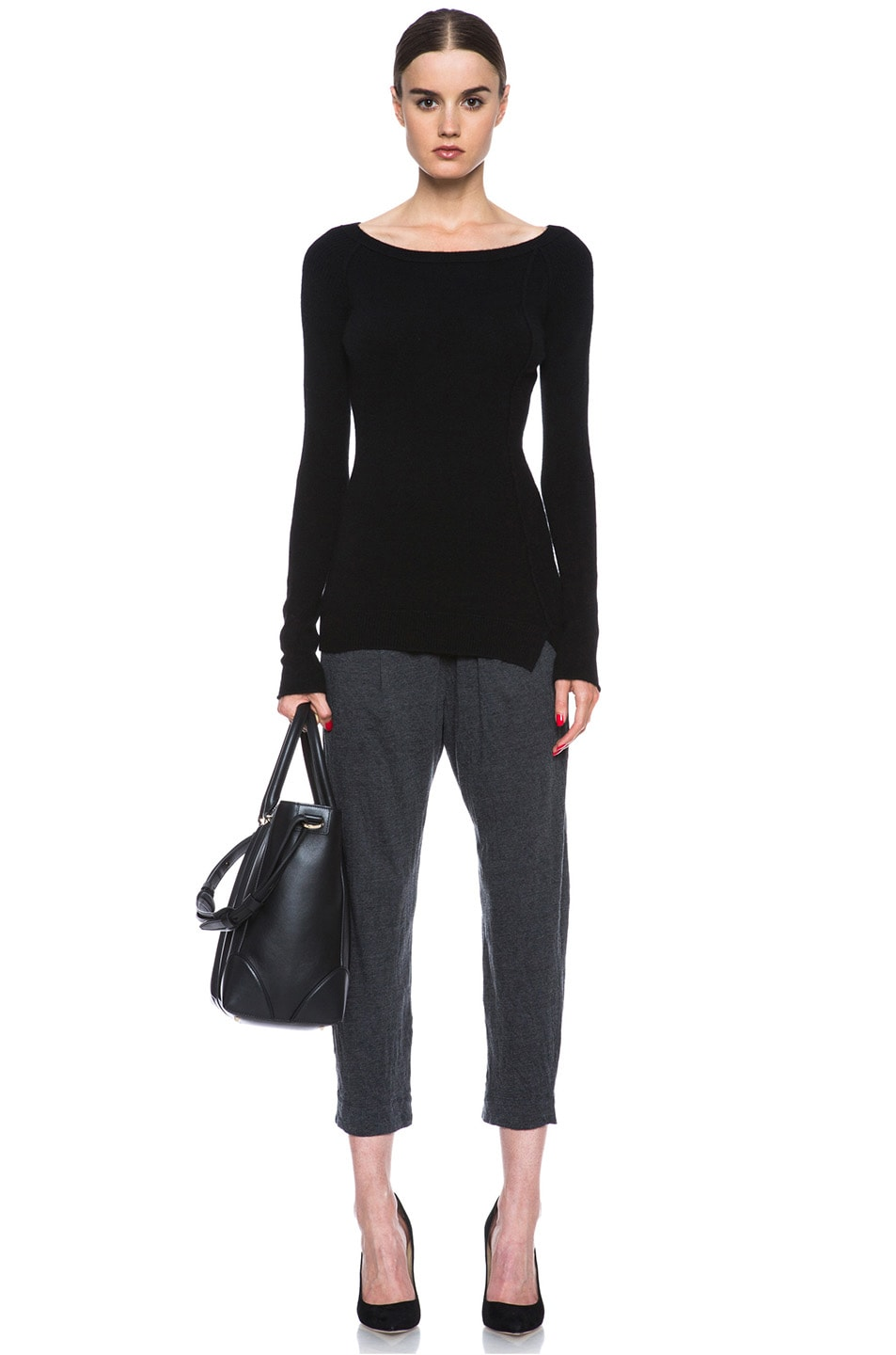 Image 5 of Raquel Allegra Deconstructed Jersey Trouser in Black