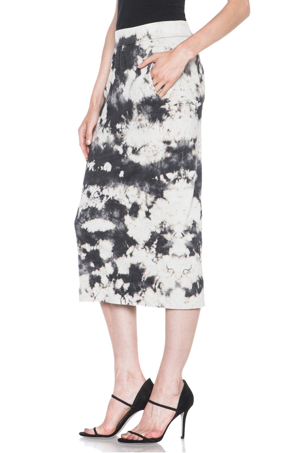Image 2 of Raquel Allegra Deconstructed Jersey Pencil Skirt in Marble Black