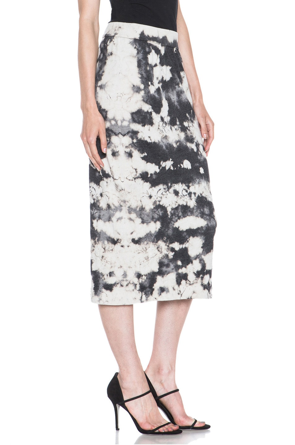 Image 3 of Raquel Allegra Deconstructed Jersey Pencil Skirt in Marble Black