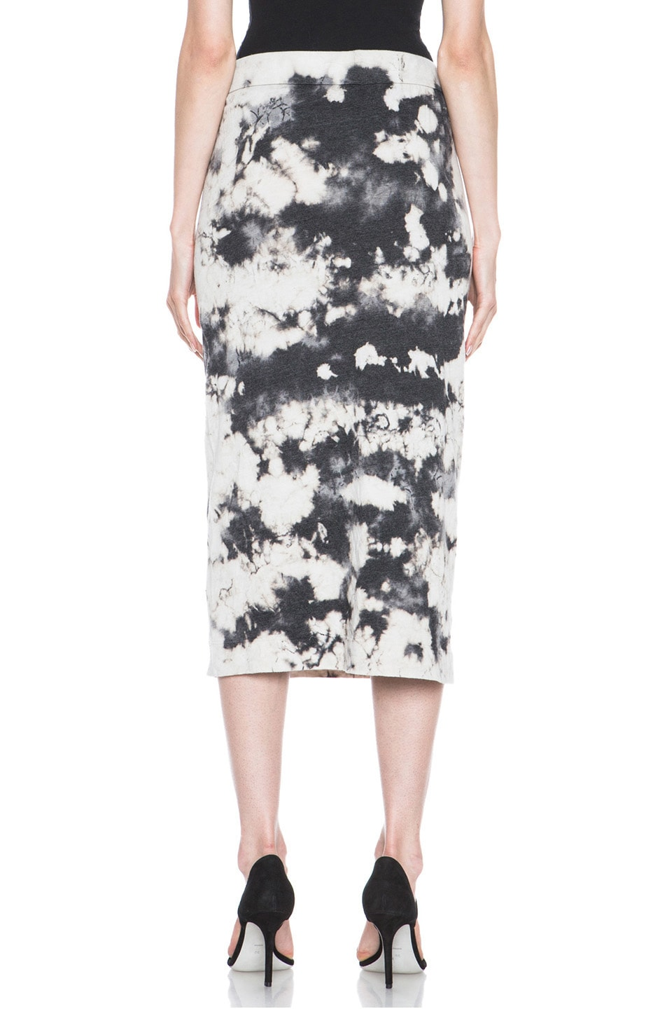 Image 4 of Raquel Allegra Deconstructed Jersey Pencil Skirt in Marble Black