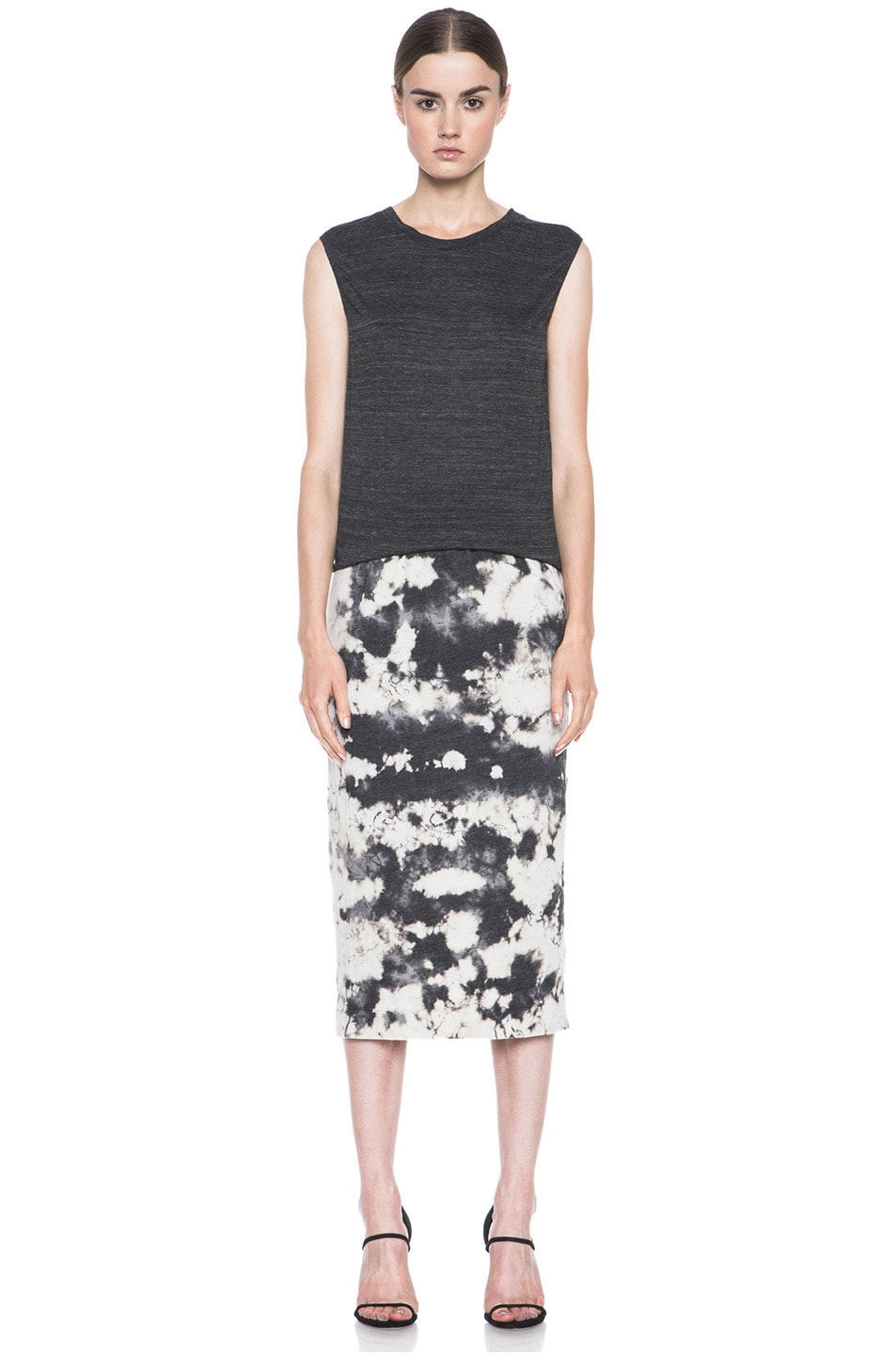 Image 5 of Raquel Allegra Deconstructed Jersey Pencil Skirt in Marble Black