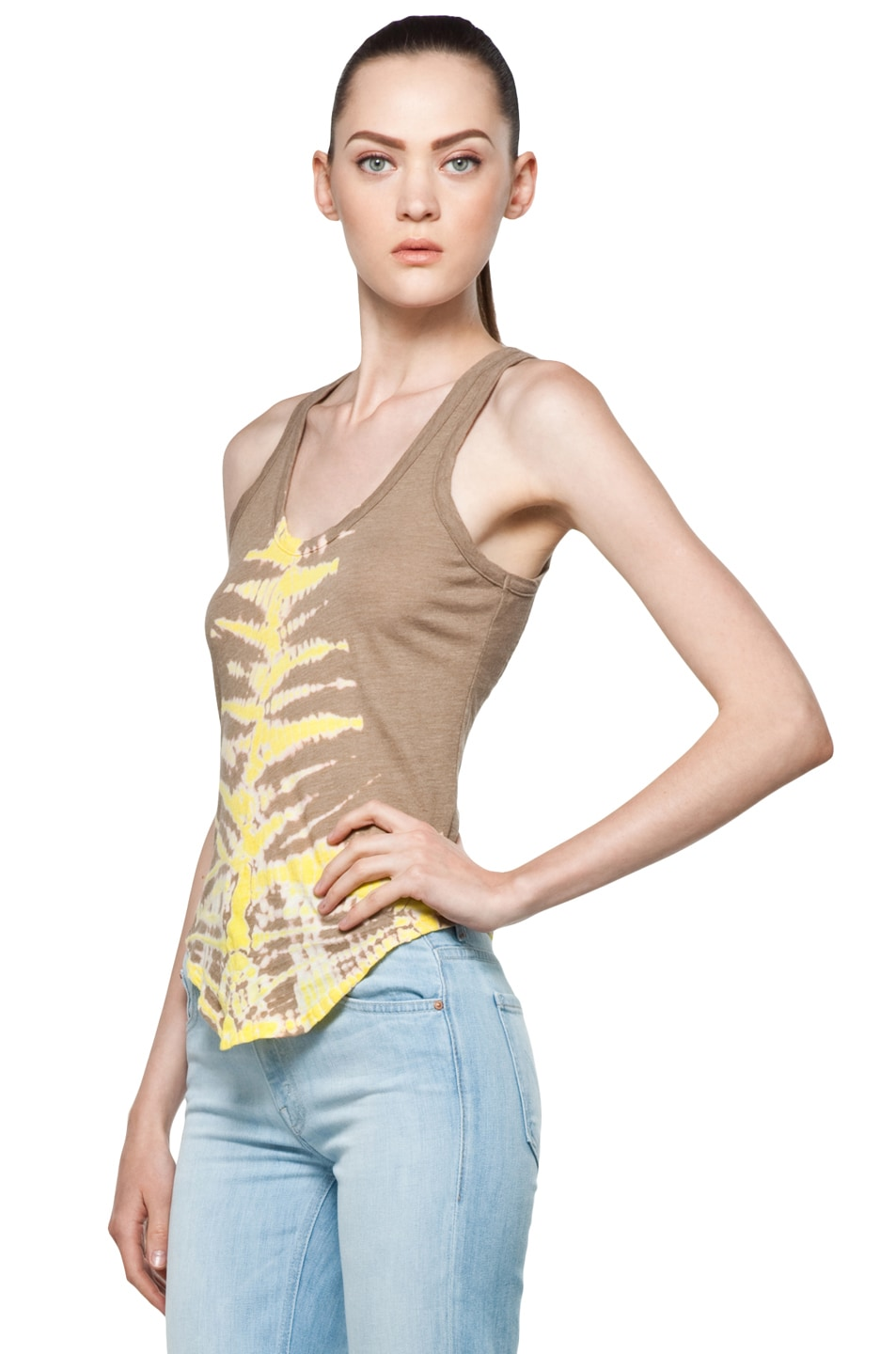 Image 2 of Raquel Allegra Back Shred Tank in Fern Taupe