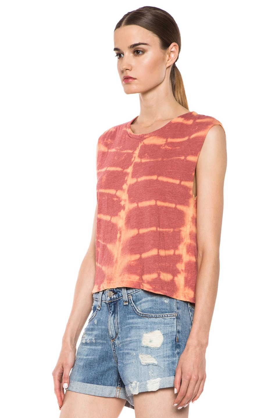 Image 2 of Raquel Allegra Deconstructed Jersey Open Back Tee in X-Ray Coral