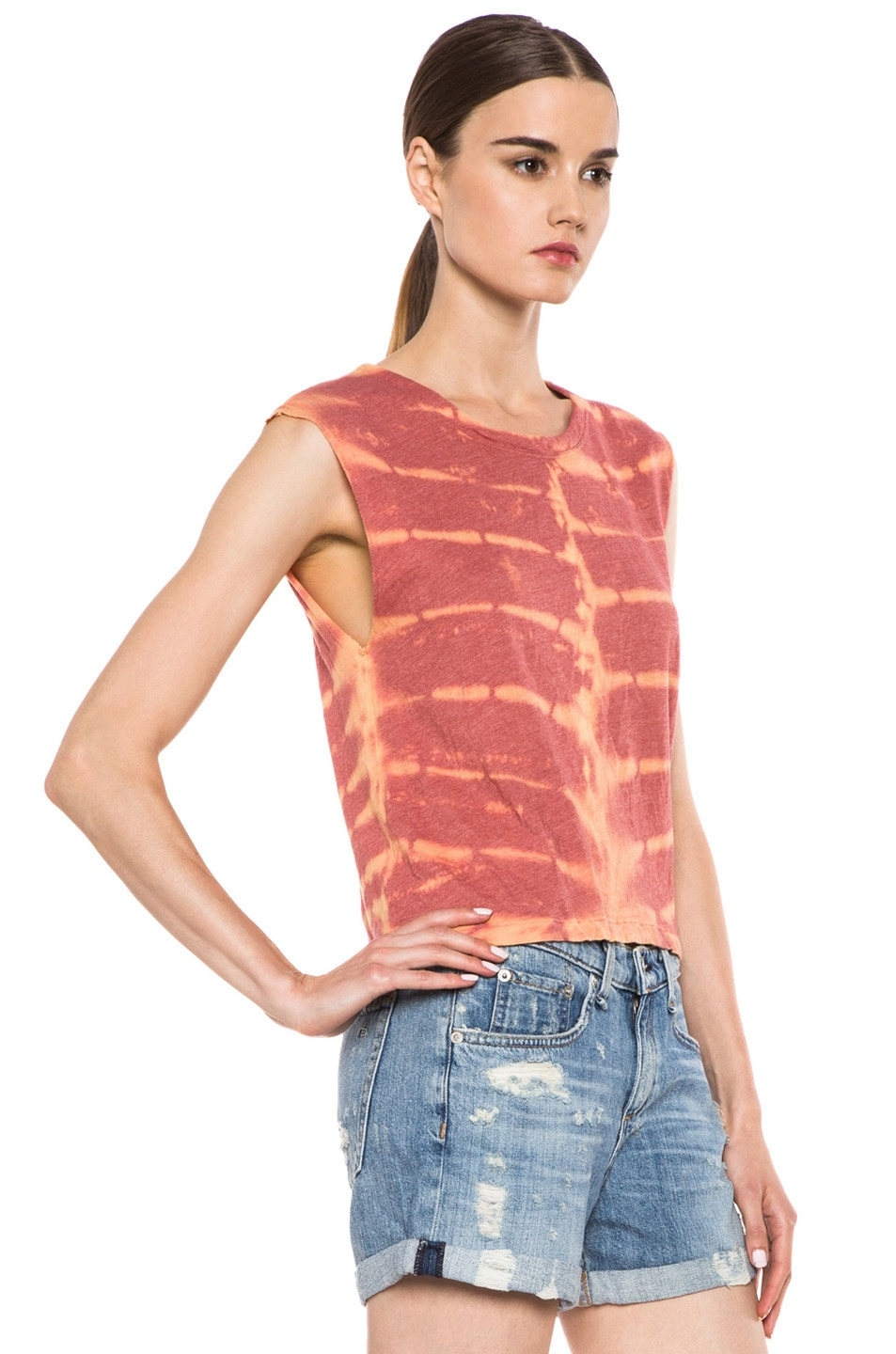 Image 3 of Raquel Allegra Deconstructed Jersey Open Back Tee in X-Ray Coral