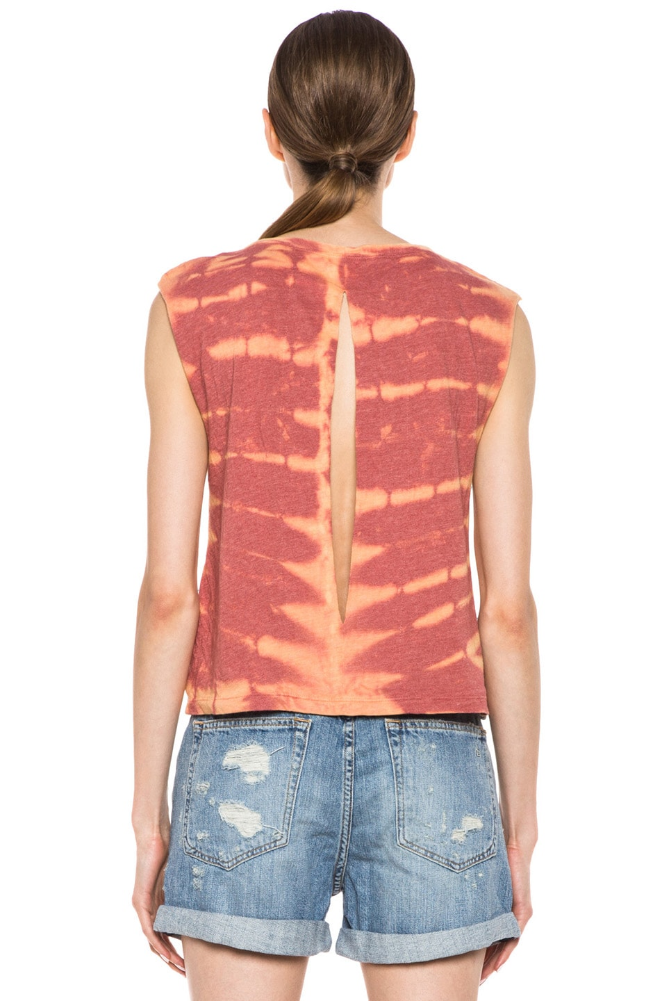 Image 4 of Raquel Allegra Deconstructed Jersey Open Back Tee in X-Ray Coral