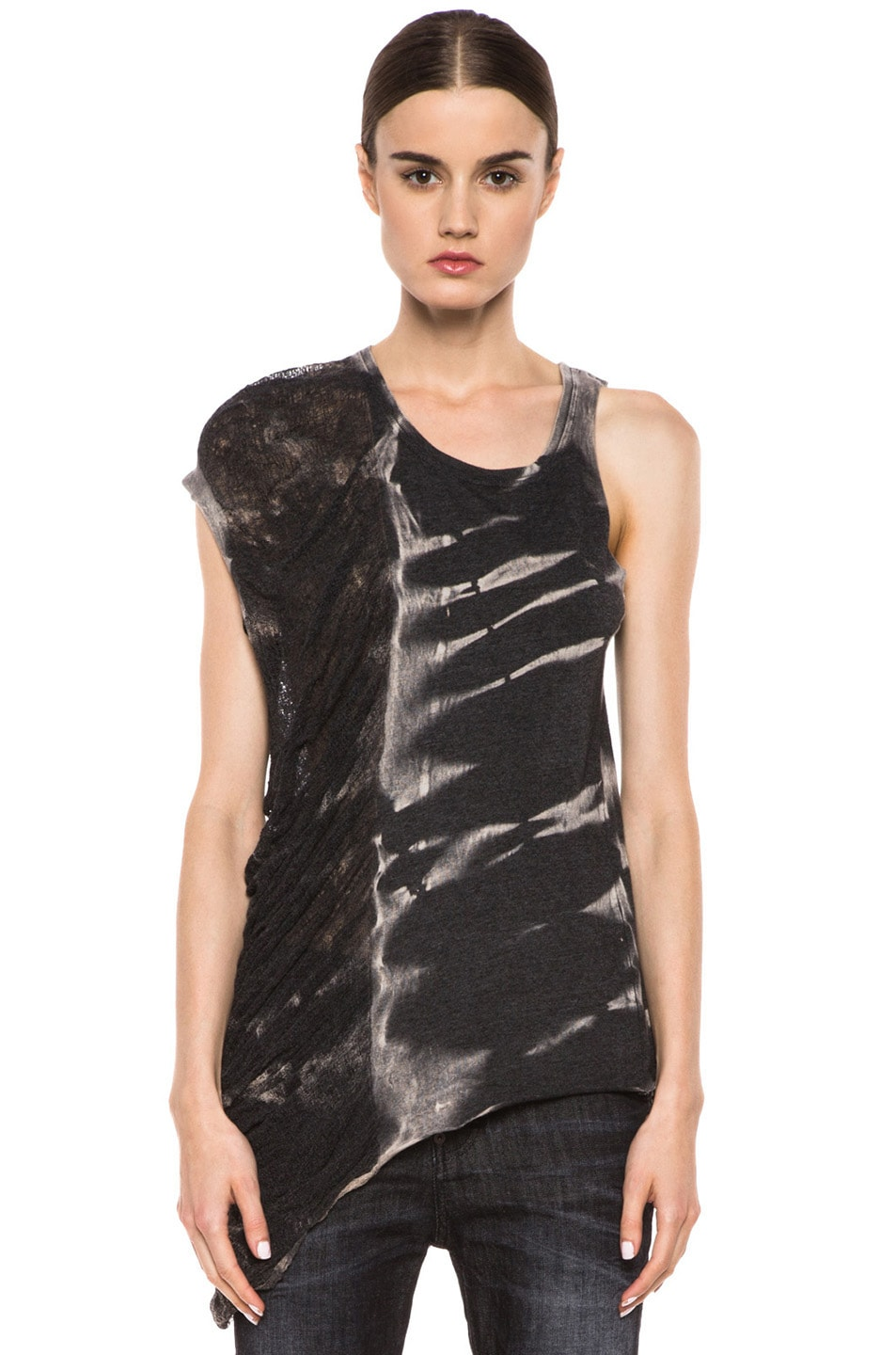 Image 1 of Raquel Allegra Deconstructed Jersey One Wing Tank in X-Ray Black