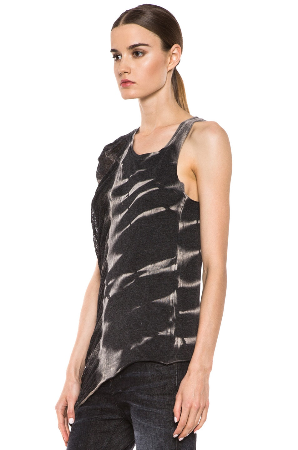 Image 2 of Raquel Allegra Deconstructed Jersey One Wing Tank in X-Ray Black