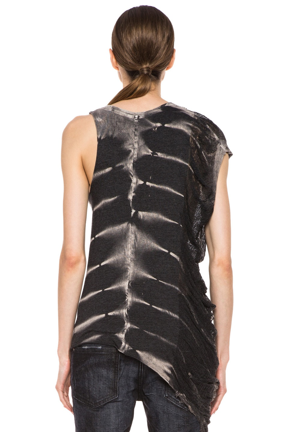 Image 4 of Raquel Allegra Deconstructed Jersey One Wing Tank in X-Ray Black