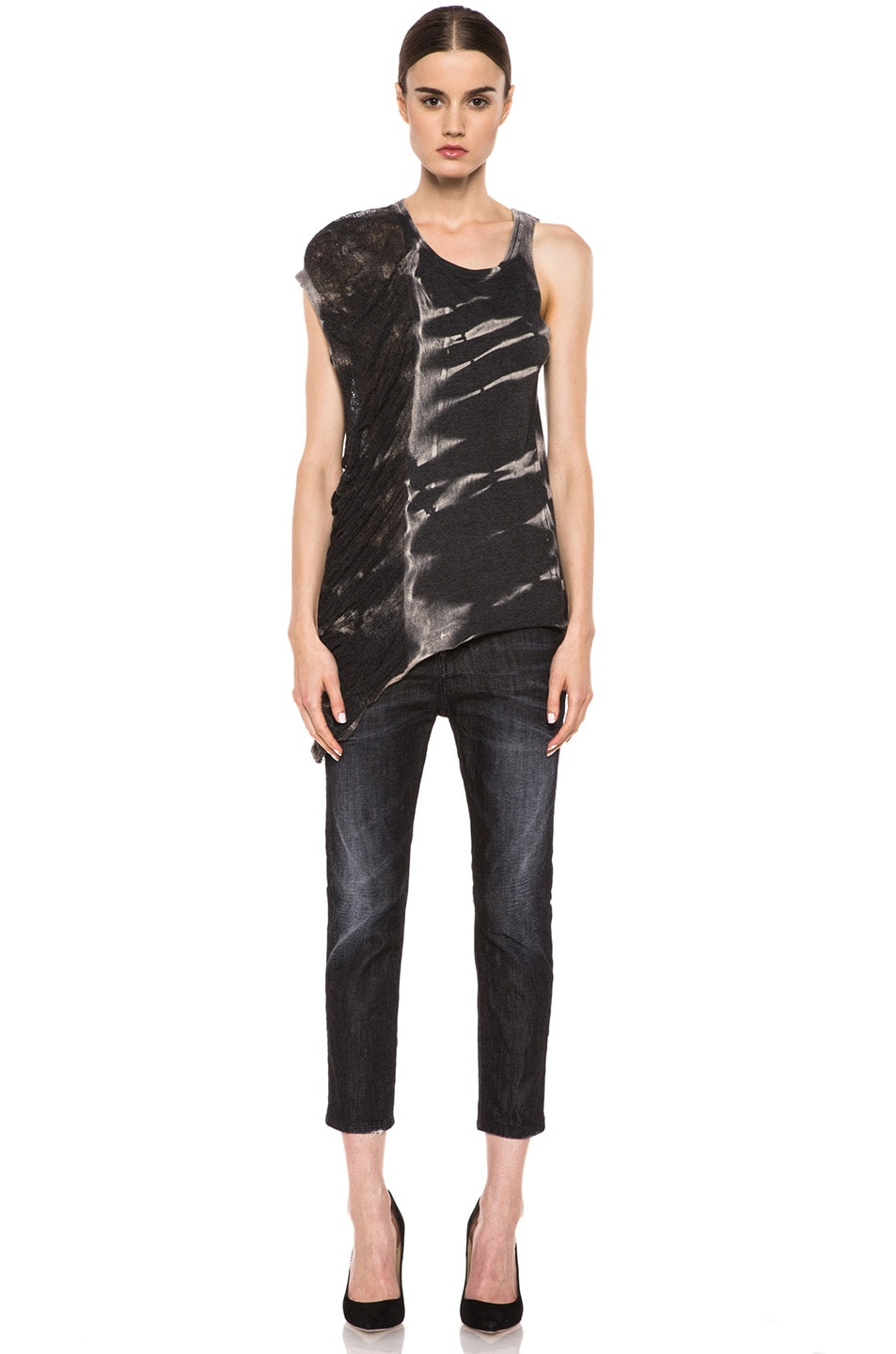 Image 5 of Raquel Allegra Deconstructed Jersey One Wing Tank in X-Ray Black