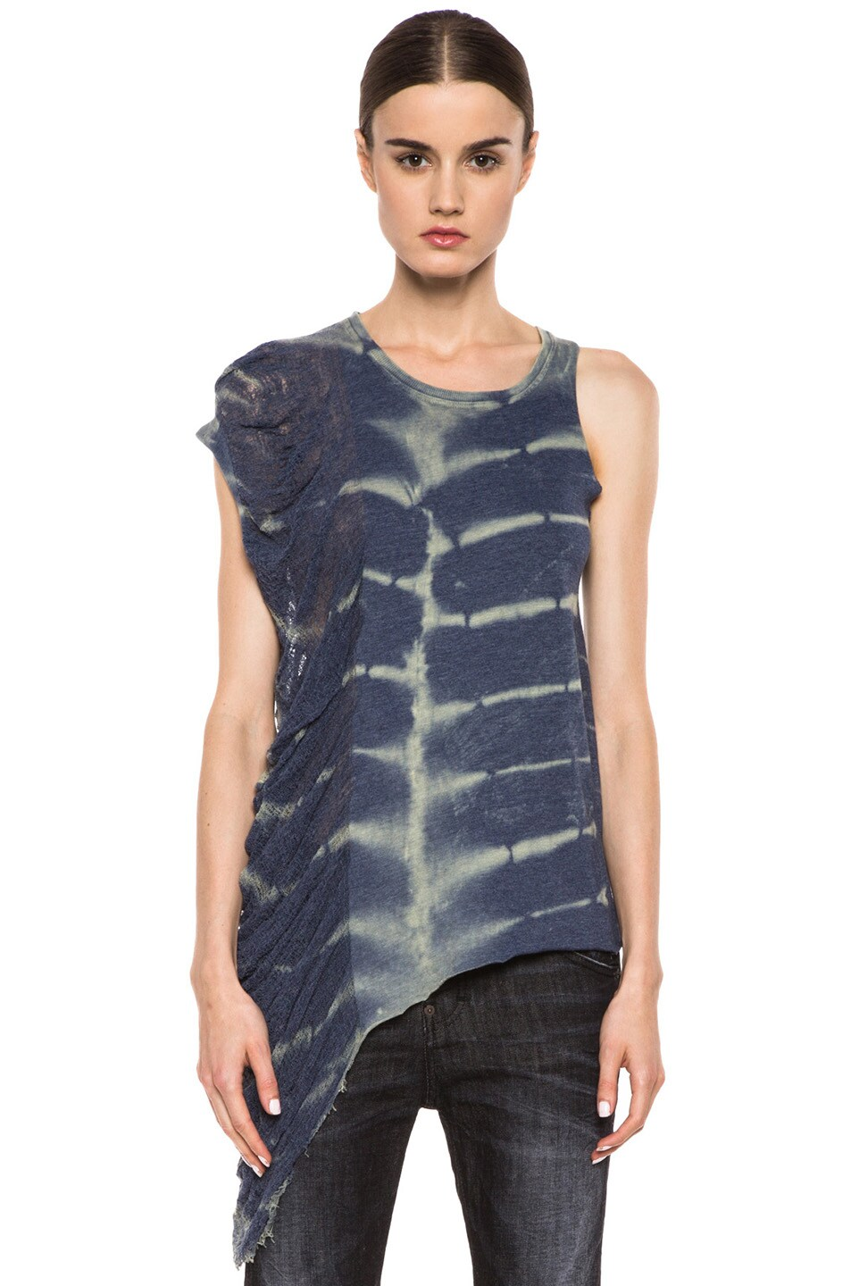 Image 1 of Raquel Allegra Deconstructed Jersey One Wing Tank in X-Ray Blue
