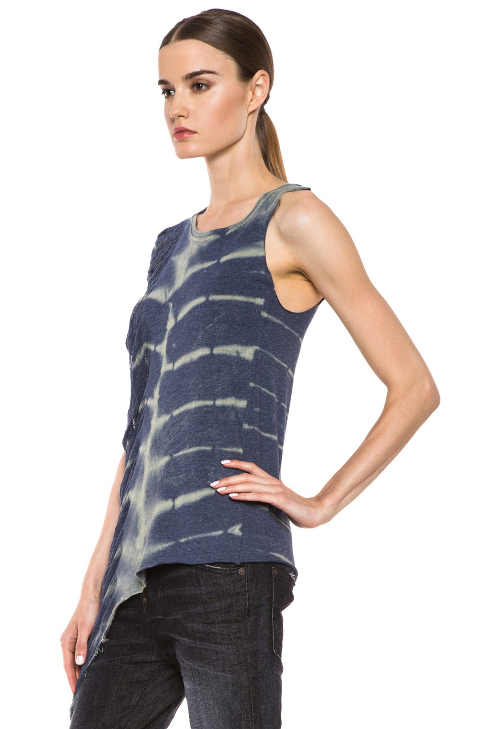 Image 2 of Raquel Allegra Deconstructed Jersey One Wing Tank in X-Ray Blue