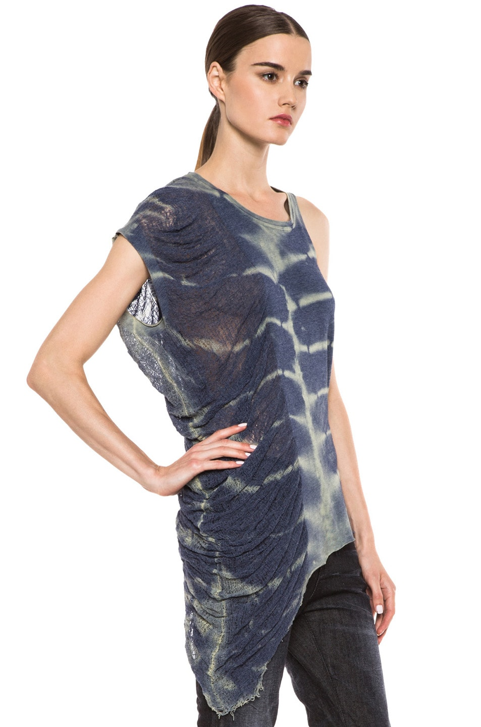 Image 3 of Raquel Allegra Deconstructed Jersey One Wing Tank in X-Ray Blue
