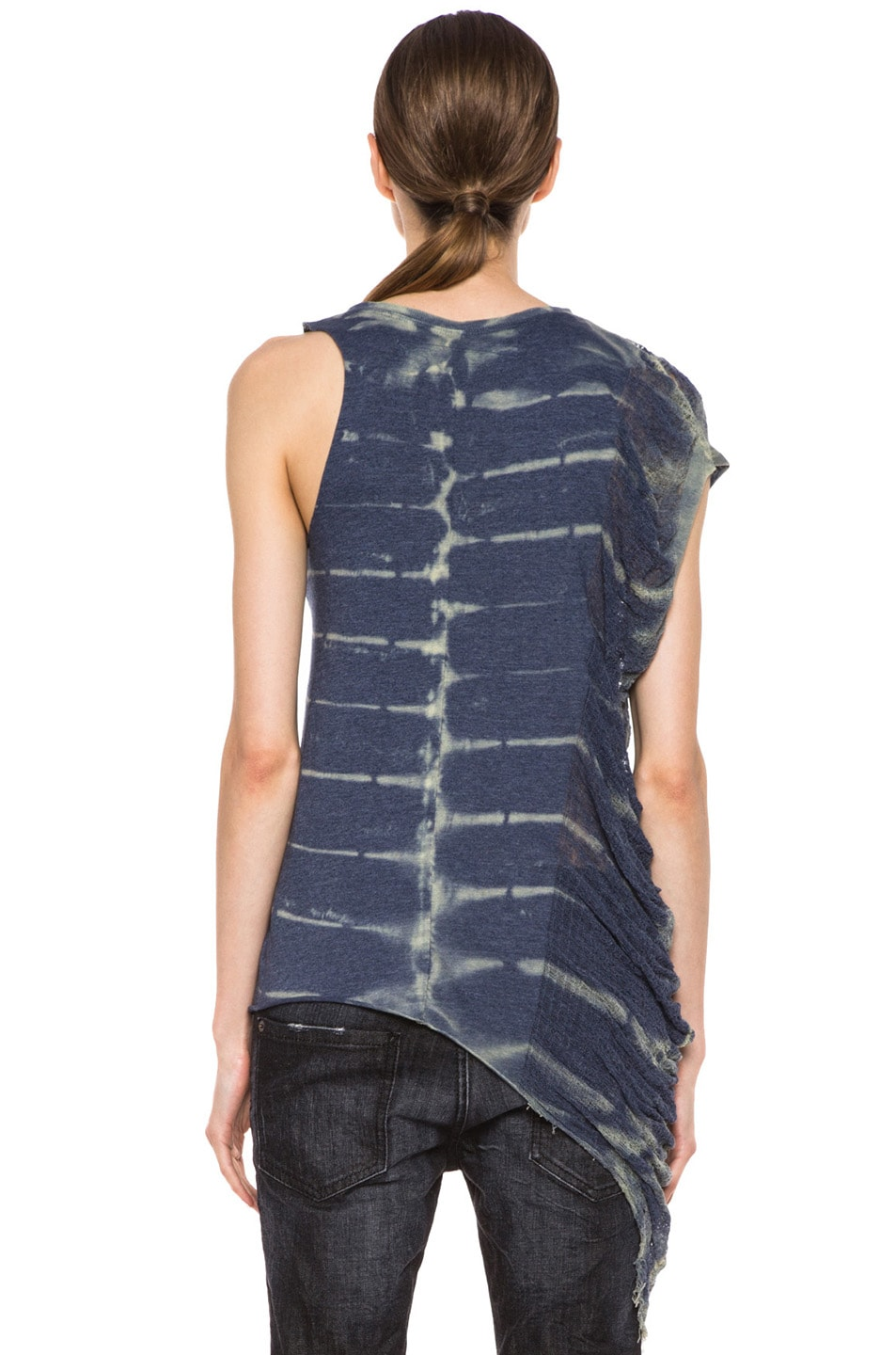 Image 4 of Raquel Allegra Deconstructed Jersey One Wing Tank in X-Ray Blue