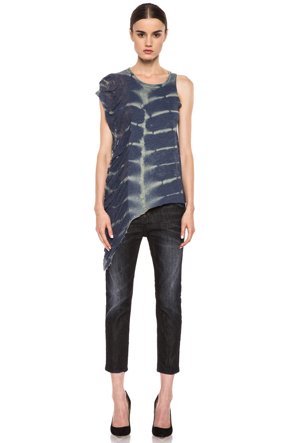 Image 5 of Raquel Allegra Deconstructed Jersey One Wing Tank in X-Ray Blue