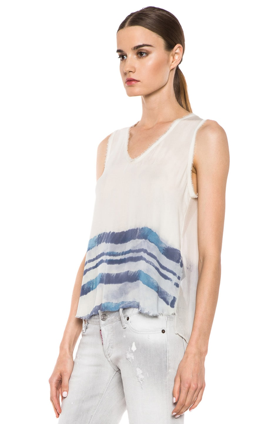 Image 2 of Raquel Allegra Silk Sleeveless Tee in Ivory Tie Dye