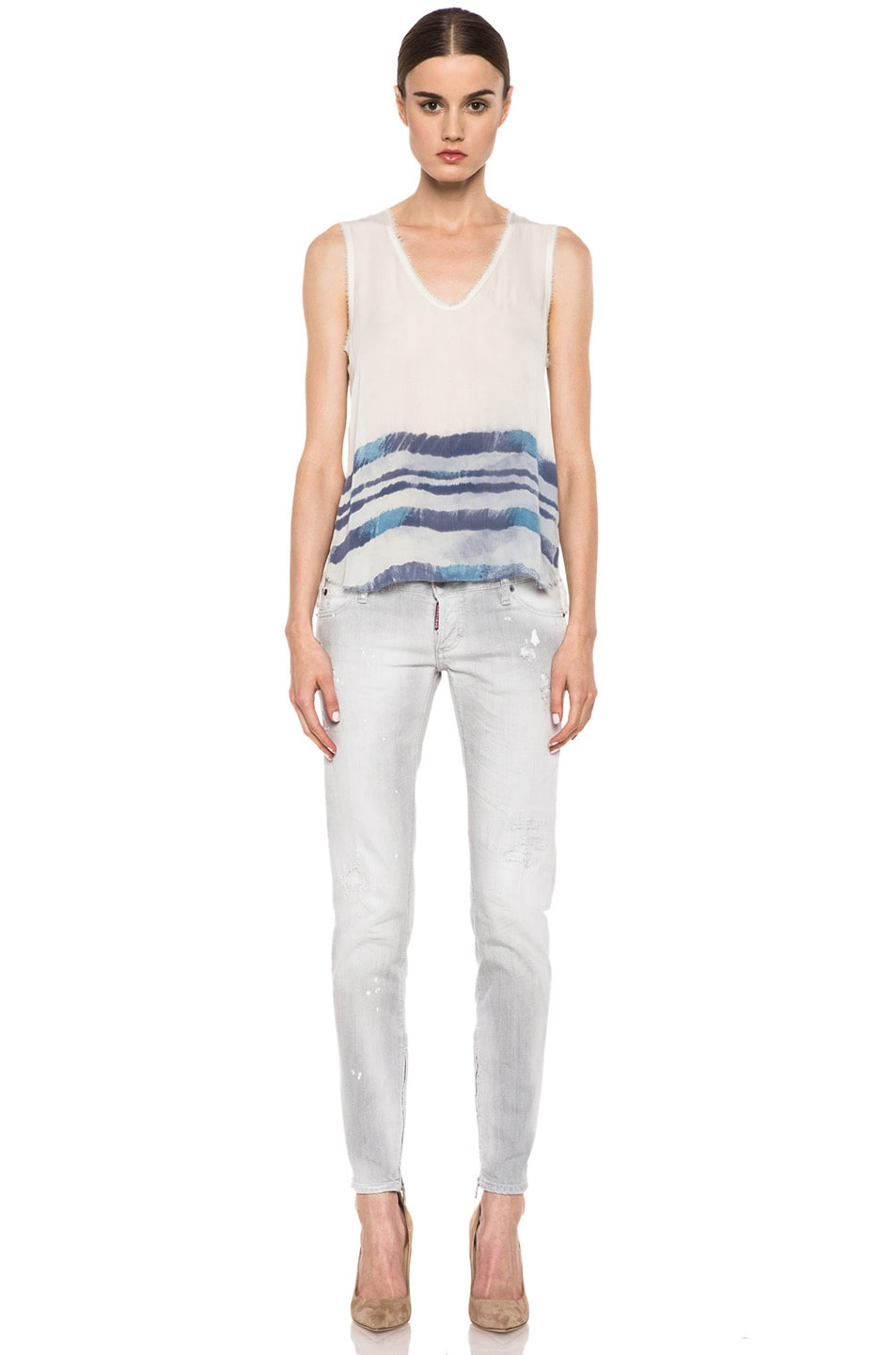 Image 5 of Raquel Allegra Silk Sleeveless Tee in Ivory Tie Dye