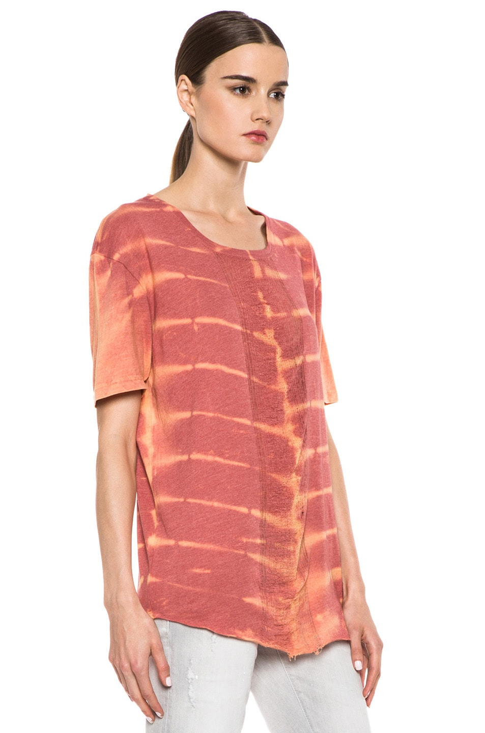 Image 3 of Raquel Allegra Deconstructed Cotton-Blend Men's Tee with Shred in X-Ray Coral