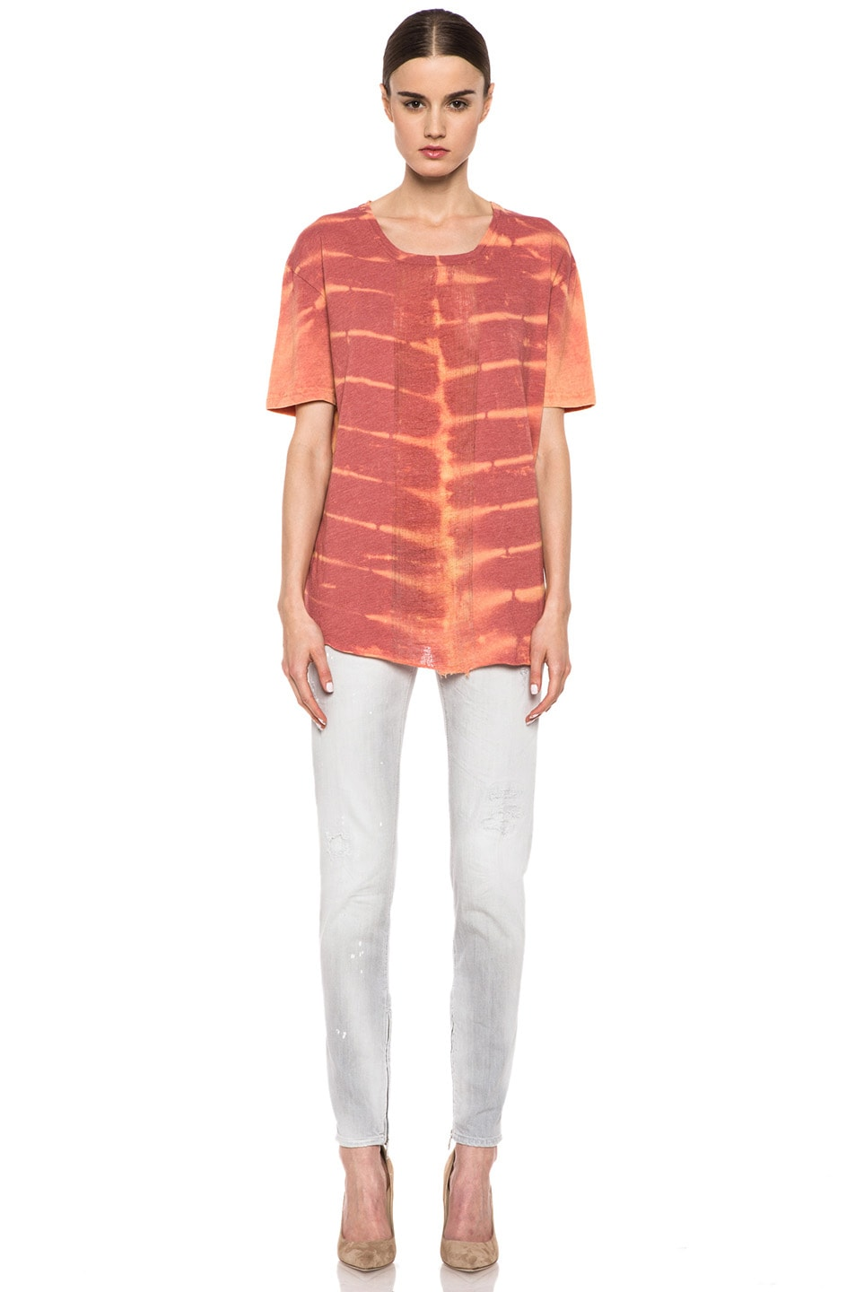 Image 5 of Raquel Allegra Deconstructed Cotton-Blend Men's Tee with Shred in X-Ray Coral