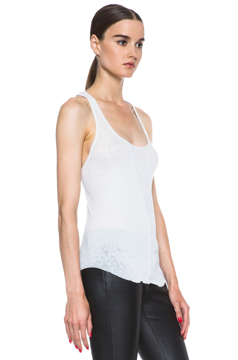 Image 3 of Raquel Allegra Burnout Jersey Rib Tank in Dirty White