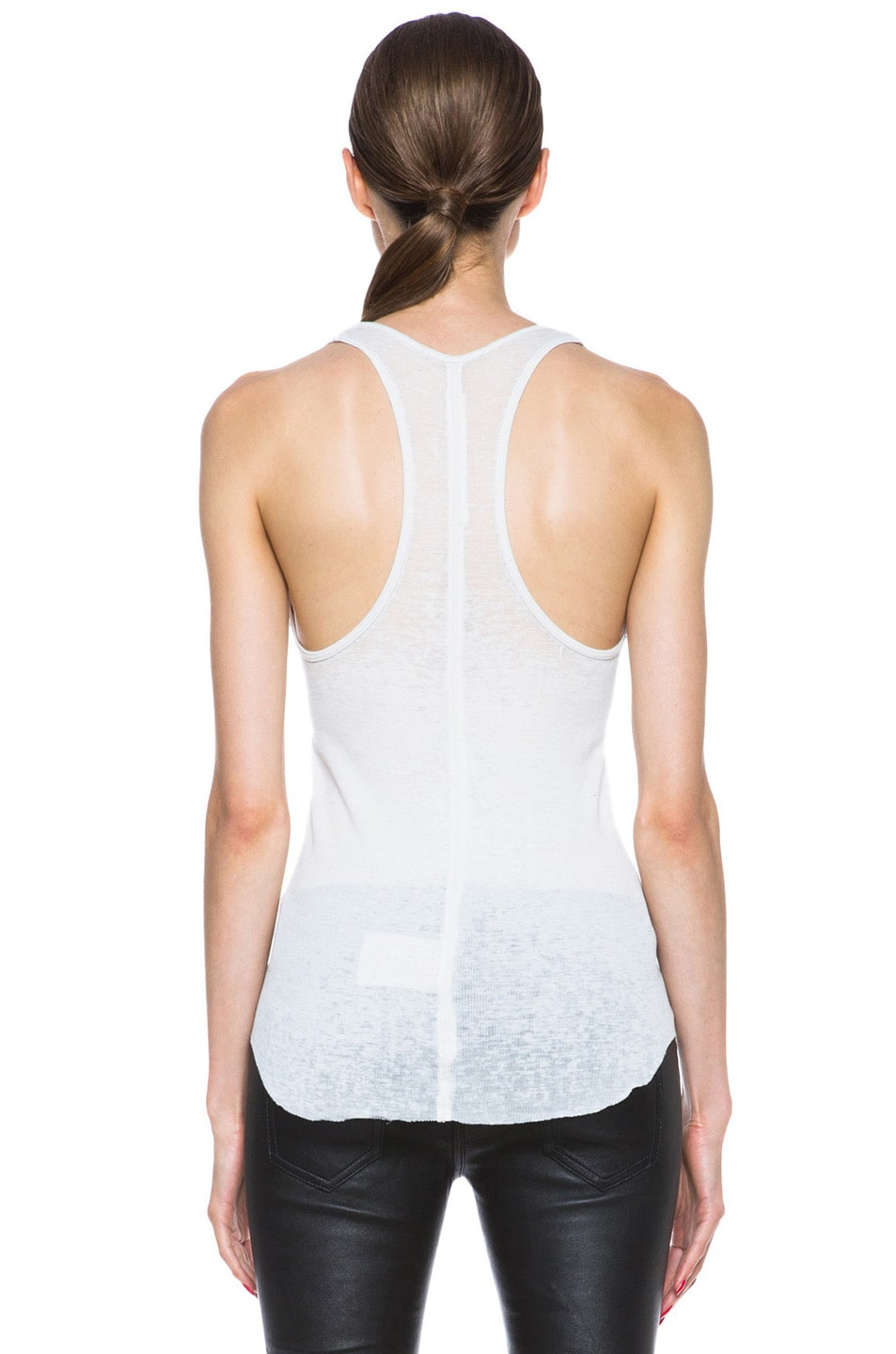 Image 4 of Raquel Allegra Burnout Jersey Rib Tank in Dirty White