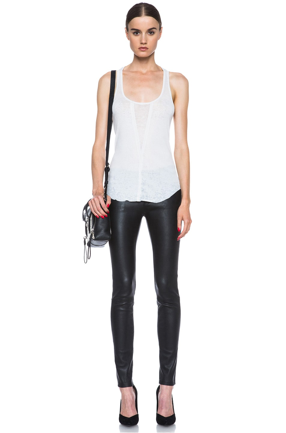 Image 5 of Raquel Allegra Burnout Jersey Rib Tank in Dirty White