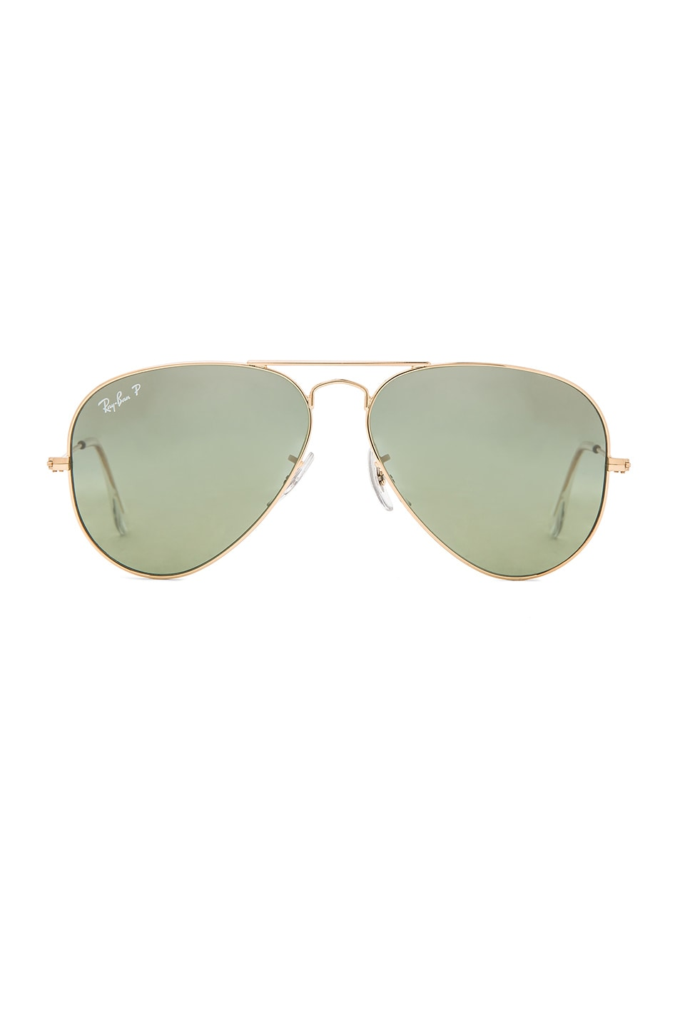 Image 1 of Ray-Ban Aviator Polarized Sunglasses in Green Mirror