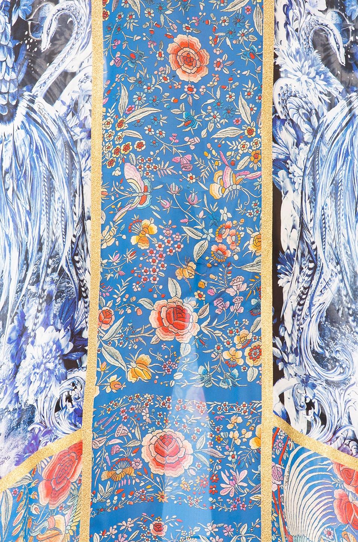 ROBERTO CAVALLI Floral Printed Panels Silk Chiffon Dress in Multicolor
