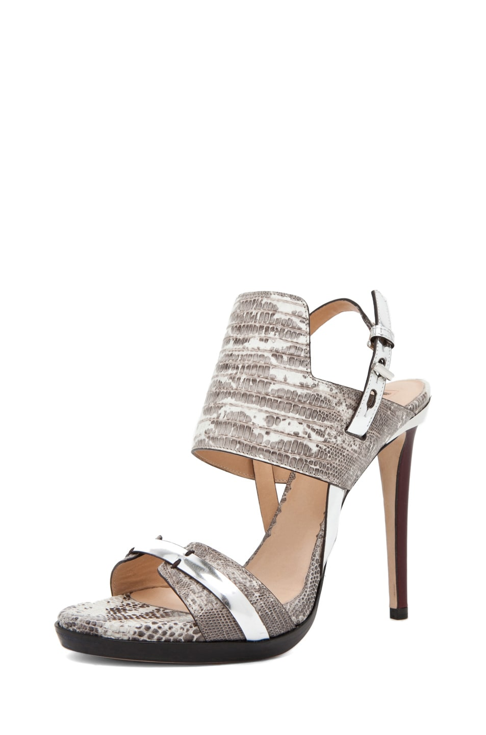 Image 2 of Reed Krakoff Heel in Black Multi/Silver/Cordovan