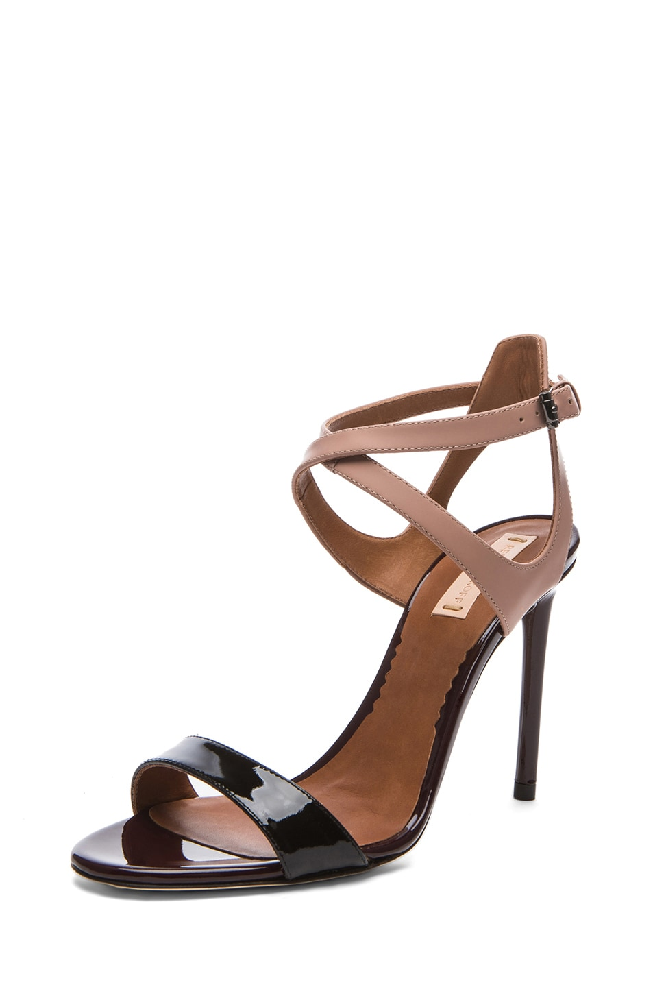 Image 2 of Reed Krakoff Glossy Leather Ankle Harness Sandals in Black & Nude