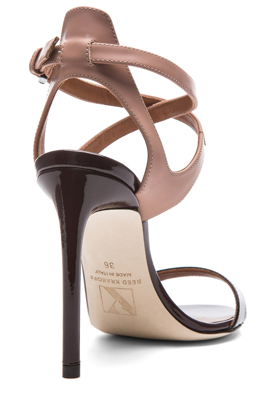 Image 3 of Reed Krakoff Glossy Leather Ankle Harness Sandals in Black & Nude