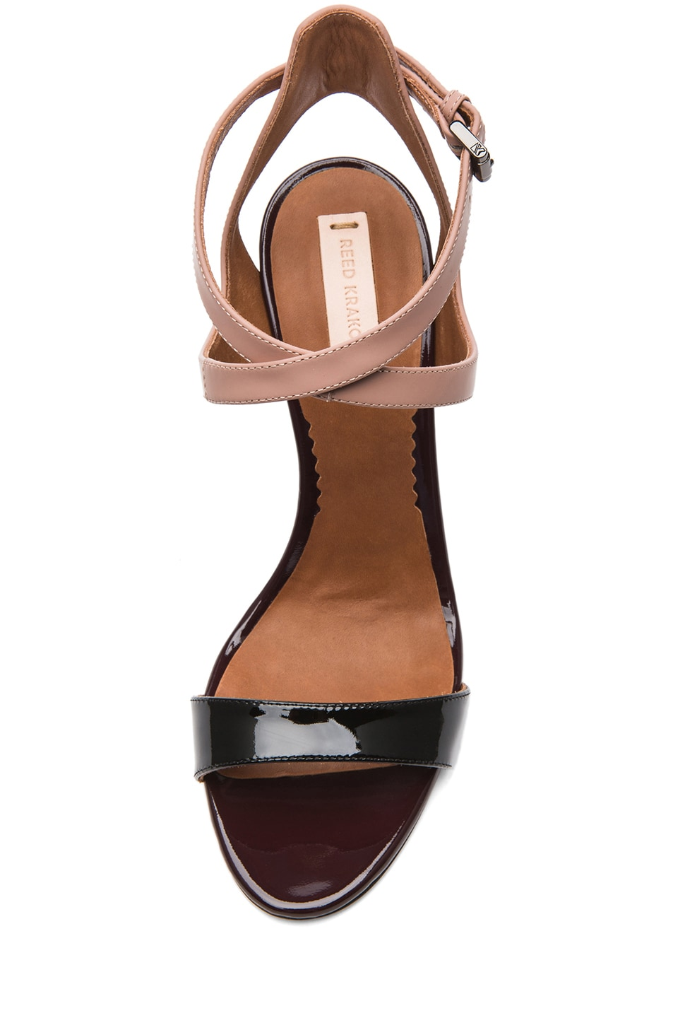 Image 4 of Reed Krakoff Glossy Leather Ankle Harness Sandals in Black & Nude