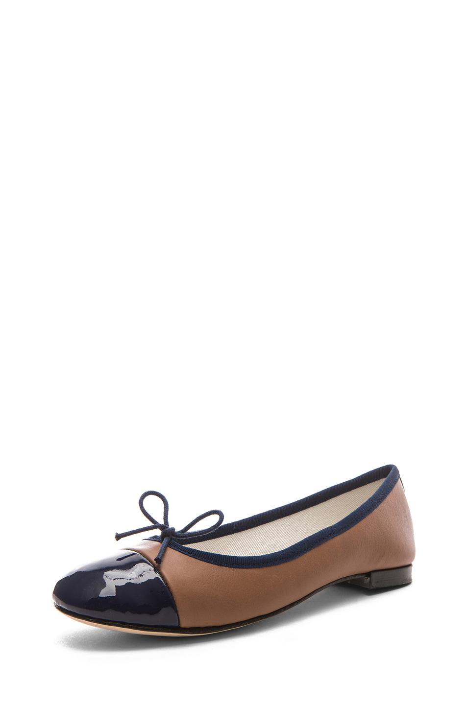Image 2 of Repetto Leather & Patent Flat in Alpaca & Deep Sea Blue