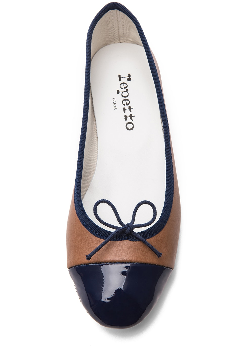 Image 4 of Repetto Leather & Patent Flat in Alpaca & Deep Sea Blue